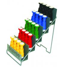 CanDo® Via® hand exerciser - set of 5 (yellow, red, green, blue, black), with metal rack