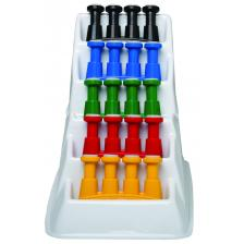 CanDo® Via® hand exerciser - set of 5 (yellow, red, green, blue, black), with plastic rack