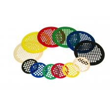 CanDo® Hand Exercise Web - Low Powder - 14 Diameter - 6-piece set (tan, yellow, red, green, blue, black)