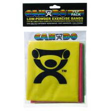 CanDo® Low Powder Exercise Band Pep™ Pack - Easy with yellow, red and green band