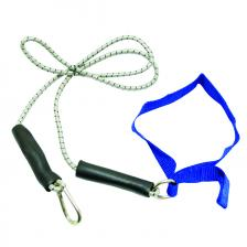 CanDo® exercise bungee cord with attachments, 4', Blue - heavy