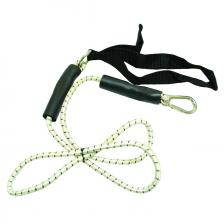 CanDo® exercise bungee cord with attachments, 4', Black - x-heavy