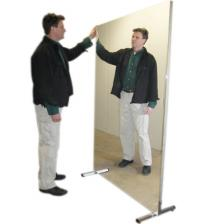Glassless mirror, stationary with stand, vertical, 16 W x 48 H