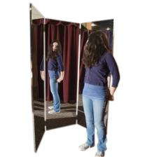 Glassless mirror, free-standing, triple panel, 16 W x 48 H