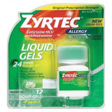 Zyrtec Allergy Liquid Gels, 10 mg Capsule, 25 Count