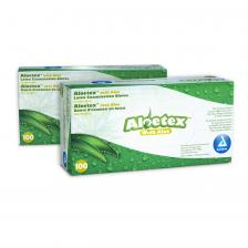 Dynarex 6718, AloeTeX Latex Gloves, Medium, Green 10/100/cs