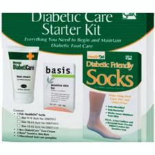 Diabetic Foot Care Starter Kit with Cream, Soap, Size 10 - 13 Socks