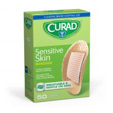 CURAD Sensitive Skin Bandages,Tan,No