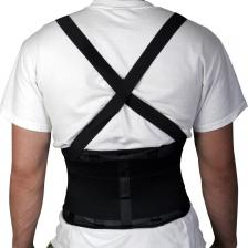 Standard Back Support with Suspenders,Black,Large