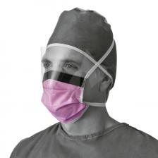Fluid-Resistant Surgical Face Masks with Eyeshield,Purple