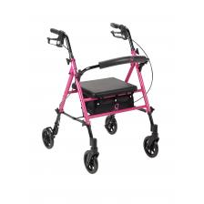 Breast Cancer Awareness Adjustable Height Rollator, Pink
