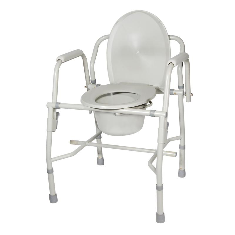 Steel drop arm bedside commode with padded arms drive for Commode metal fly