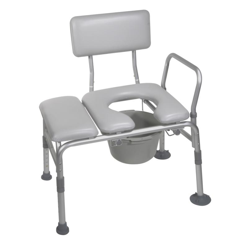 Padded Seat Transfer Bench With Commode Opening Drive