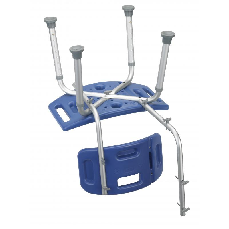 Bathroom safety shower tub bench chair with back blue drive medical 12202kdrb 1 for Drive medical bathroom safety shower tub chair
